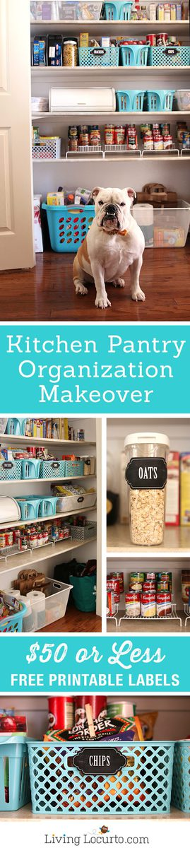 How to makeover a kitchen pantry with $50 or less! Inspiring kitchen pantry organization ideas with free printable kitchen pantry labels to organize a kitchen. Easy home organizing ideas.