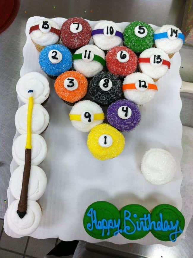 Pool Billard Party Cake Best Birthday Pull Apart Cupcake Cakes Simple Creative Inspiration