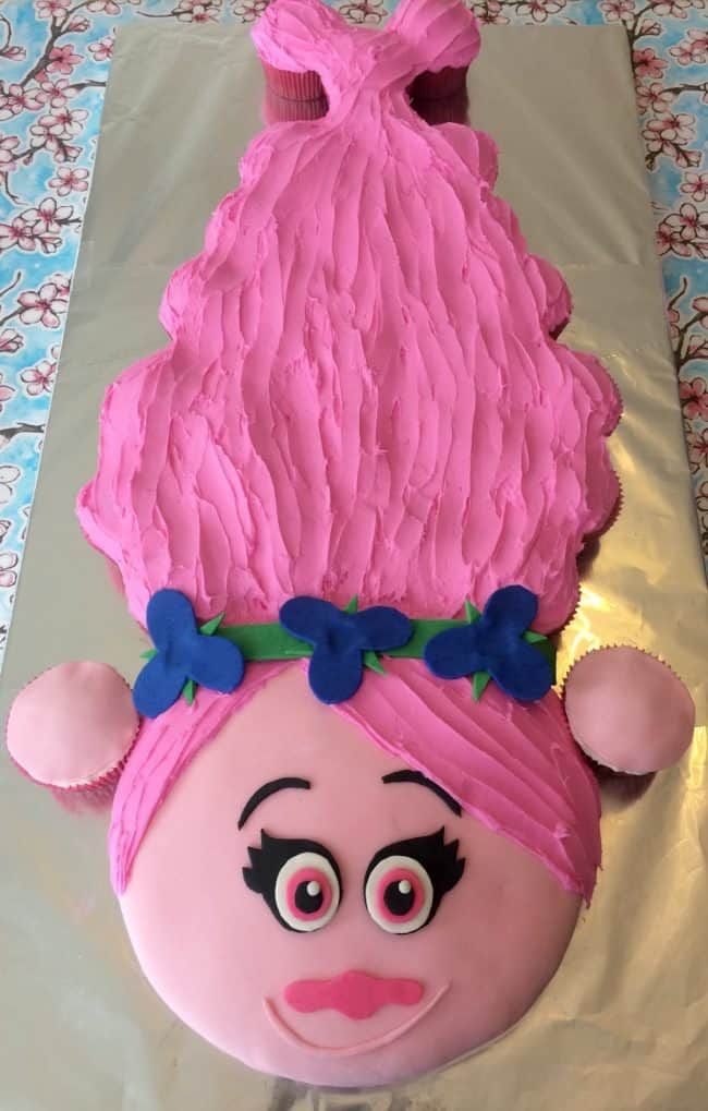 Trolls Princess Poppy Cake - Best Birthday Pull Apart Cupcake Cakes. Simple creative cake inspiration for a birthday party celebration.