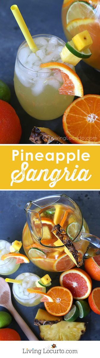 This easy Tropical Pineapple Sangria recipe is a perfect coconut rum drink for a luau or just sipping by the pool. A tropical twist on the traditional white wine sangria. Tastes like a piña colada, but much easier drink recipe!?
