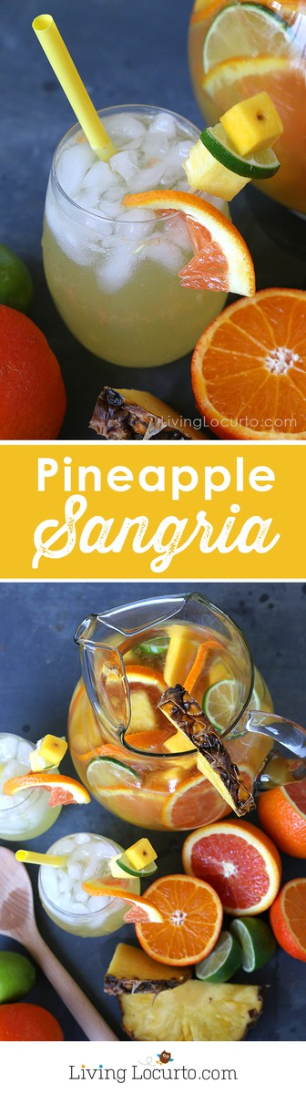 This easy Tropical Pineapple Sangria recipe is a perfect coconut rum drink for a luau or just sipping by the pool. A tropical twist on the traditional white wine sangria. Tastes like a piña colada, but much easier drink recipe!? #cocktails #sangria #wine #recipe #drinks #summer #tropicaldrink #pineapple #pinacolada #cocktailrecipe #partyideas #partydrink #luau #fruitdrink #LivingLocurto #rum #coconut