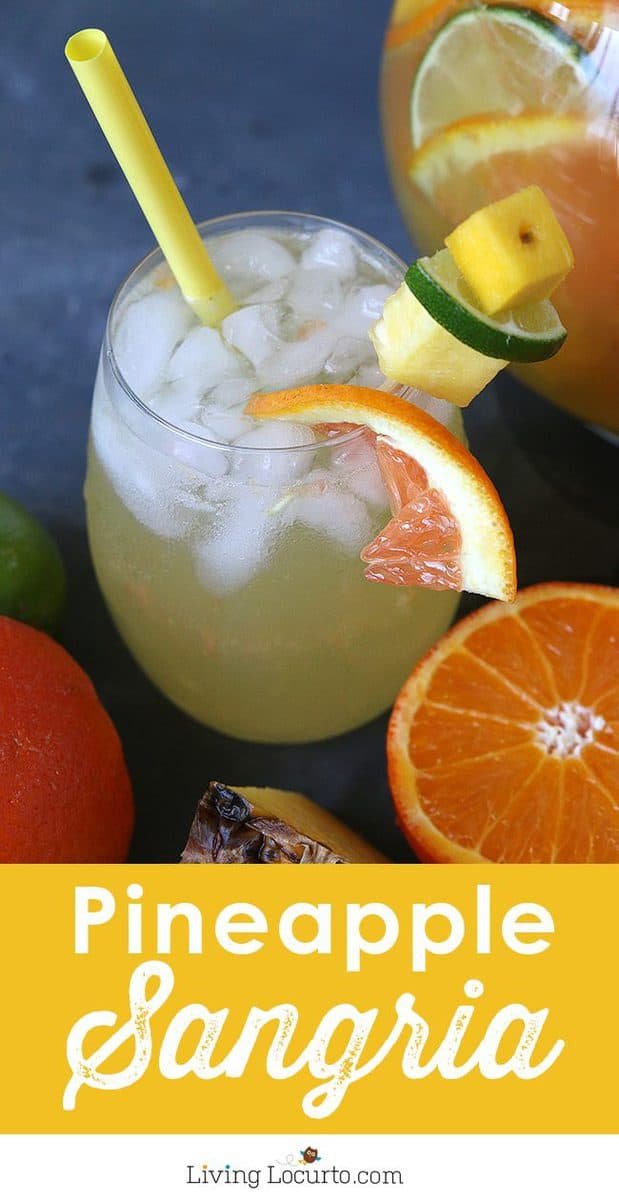 A tropical twist on the traditional white sangria. This Pineapple Sangria recipe is a perfect coconut rum drink for a luau or just sipping by the pool.