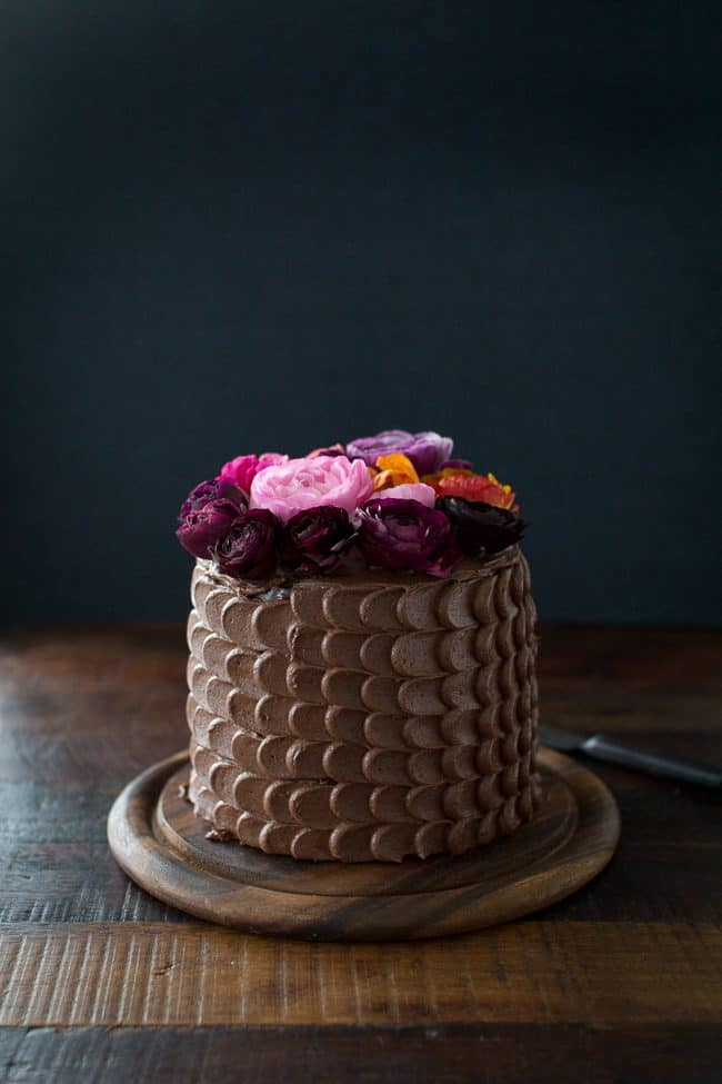 Chocolate Cake with a beautiful floral top. by Flourishing Foodie
