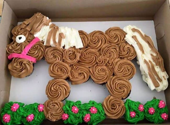 Horse Pony Cake. Best Birthday Pull Apart Cupcake Cakes. Simple creative cake inspiration for a birthday party celebration.
