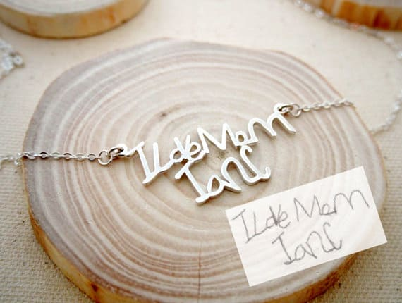Signature necklace! This is such adorable gift idea with kids handwriting!