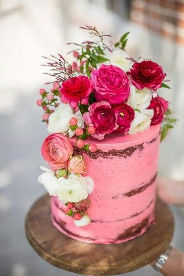 Hot Pink Naked Cake Topped With Fresh Flowers Waterfall Affect