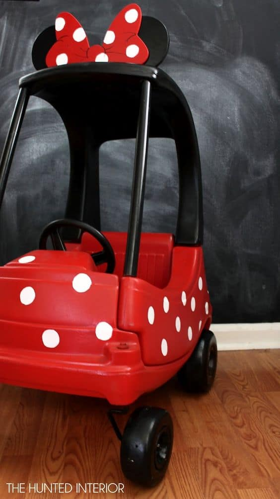 Minnie Mouse Cozy Coupe Car for Kids - - The Ultimate List of Minnie Mouse Craft Ideas! Party Ideas, DIY Crafts and Disney themed fun food recipes.