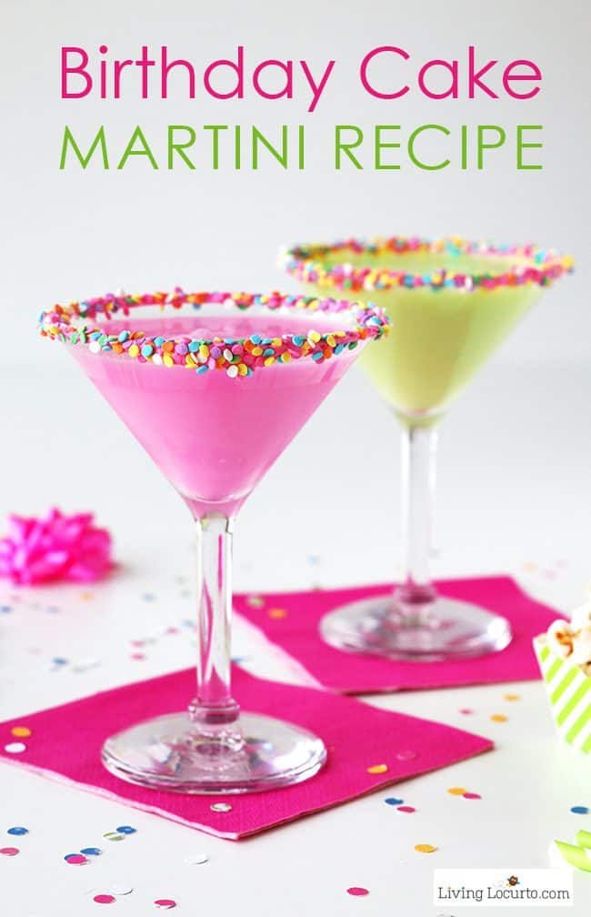 How to make a colorful Birthday Cake Martini with candy sprinkles. An easy cocktail recipe that tastes just like a birthday cake! Best Party Recipe Idea.