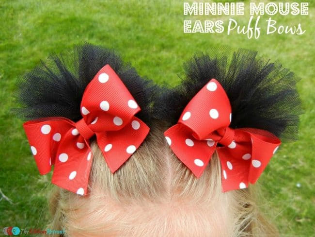 Minnie Mouse Puff Bows - - The Ultimate List of Minnie Mouse Craft Ideas! Party Ideas, DIY Crafts and Disney themed fun food recipes.
