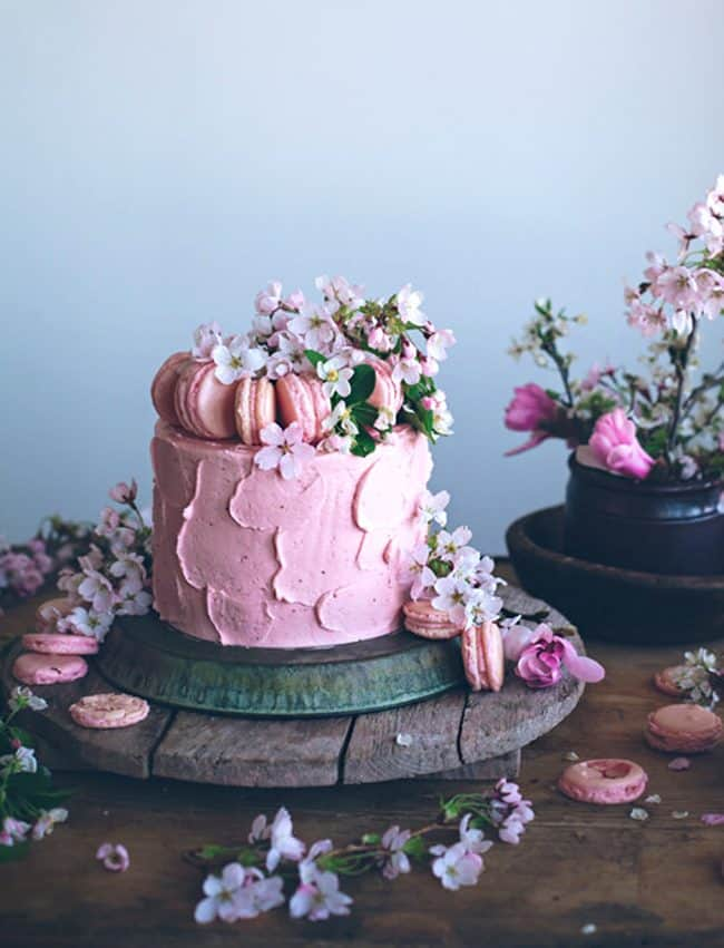 Neapolitan Cake with Strawberry Swiss Meringue Buttercream Frosting.