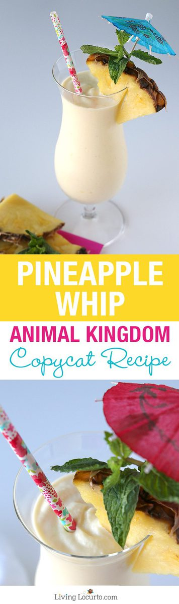 This frozen pineapple whip with rum is a delicious and simple copycat recipe for an Animal Kingdom Disney Pineapple Dole Whip!