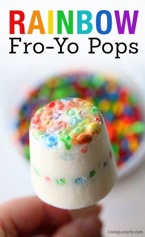Rainbow Fro-Yo Pops are a healthy fun food frozen yogurt dessert. This colorful fro-yo gluten-free snack is the perfect summer party treat for kids! Livinglocurto.com
