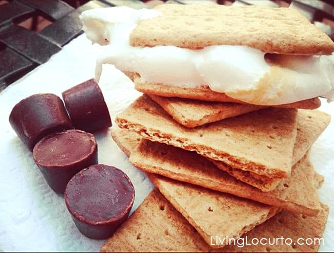 Delicious fun food camping meals. Rolo S'mores and Campfire Meals make summer eating fun!
