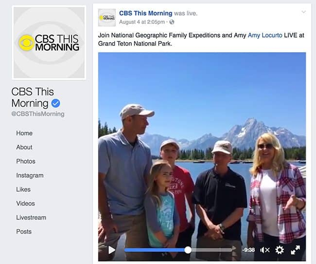 CBS This Morning National Geographic at the Grand Teton National Park with Amy Locurto DIY and Travel Blogger