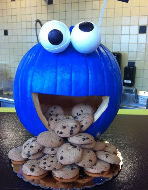 Who can resist this Cookie Monster Pumpkin?