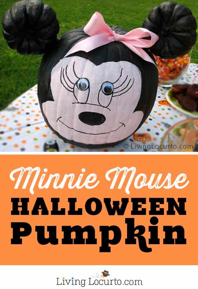 This fun Minnie Mouse pumpkin painting craft is easy for kids and makes a great Disney Halloween party activity. Creative pumpkin without carving.