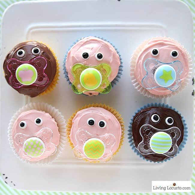 Baby Shower Party Ideas and how to make adorable Baby Pacifier Cupcakes. Fun Baby Shower Game Ideas and More!