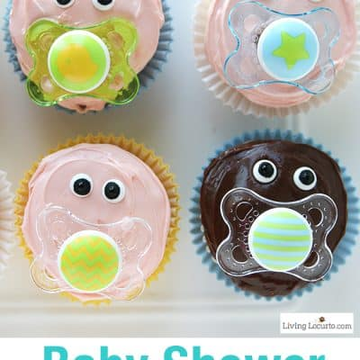 Baby Pacifier Cupcakes | Cute Baby Shower Party Ideas