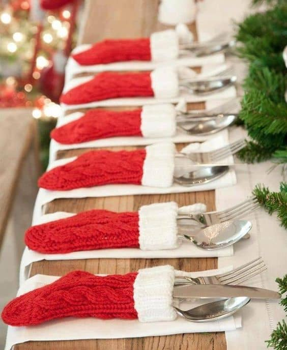Christmas Stockings Flatware holder - The Best Christmas Table Setting Decorations | Holiday Home Decor & The Best Christmas Table Setting Decorations | Holiday Home Decor