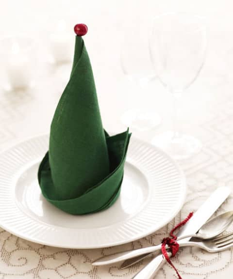 Elf Napkin Fold - The Best Christmas Table Setting Decorations | Holiday Home Decor