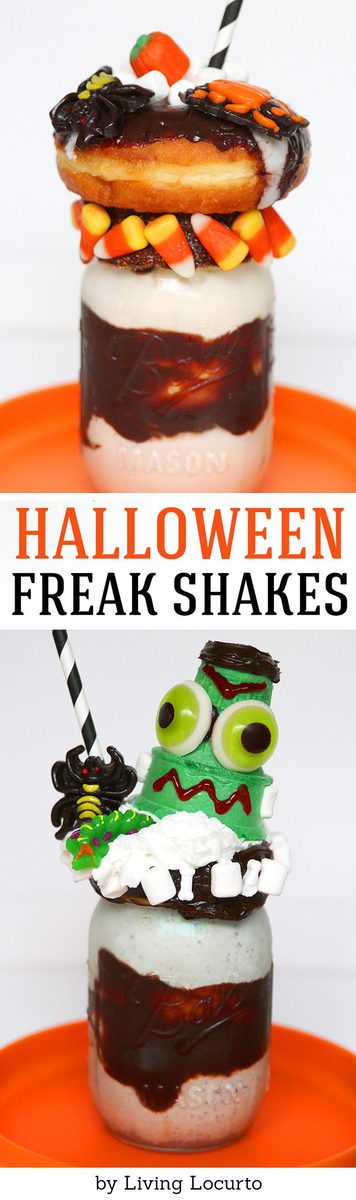 A Halloween milkshake is the perfect Halloween food for a creepy and fun school snack or Halloween party treat! Frankenstein Halloween ice cream dessert.