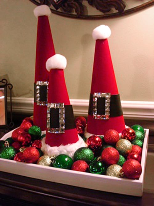 Santa Hat Cones. The Best Christmas Table Setting Decorations | Holiday Home Decor