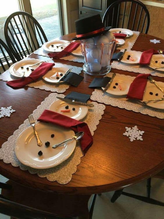 Snowman Plates - Christmas Tree Napkins - The Best Christmas Table Setting Decorations | Holiday Home Decor