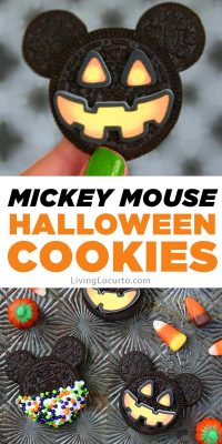 Mickey Mouse Halloween Cookies made with Oreo cookies! Such a fun Disney themed holiday party dessert idea.
