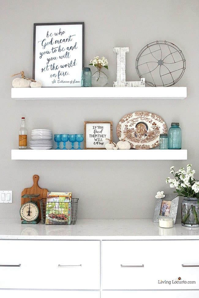 New White Kitchen Reveal. Amazing before and after photos of a modern farmhouse style kitchen home remodel. Home decorating and kitchen inspiration. Open Shelves decorations. LivingLocurto.com