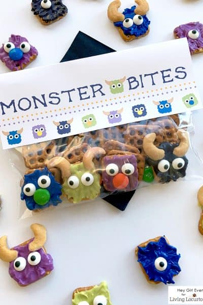Monster Bites! No-Bake Halloween Candy Pretzels & Cute Free Printables