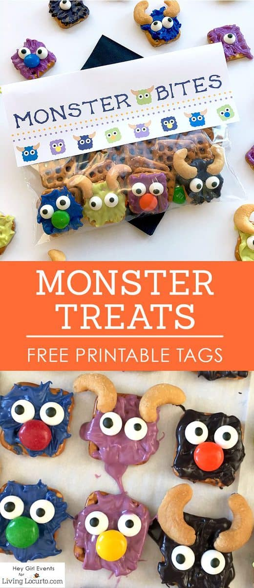 Monster Bites! Monster Candy Pretzels with FREE Printable Party Favors. No-bake chocolate covered pretzel treats for Halloween or a Monster birthday party. By Hey Girl Events for LivingLocurto.com