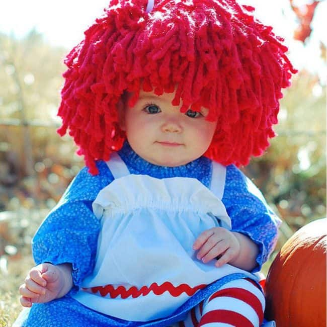 Ragedy Ann Yarn Hair. Cute Kids Halloween Costumes! Over 25 of the Best DIY Halloween Ideas to inspire you on Trick or Treat night!