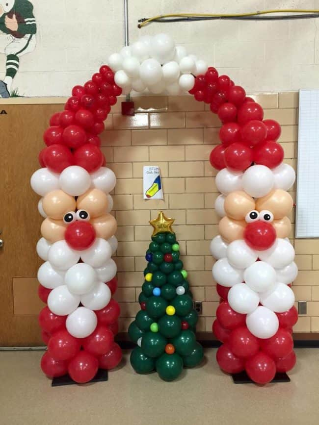 Santa Balloon Arch. Creative ideas for Christmas Balloon Art! Fun DIY Holiday Decorations that turn your home or party into a festive winter wonderland.