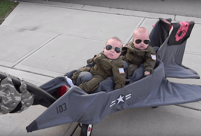 Top Gun Twin Babies - Cute Kids Halloween Costumes! Over 25 of the Best DIY Halloween Ideas to inspire you on Trick or Treat night!