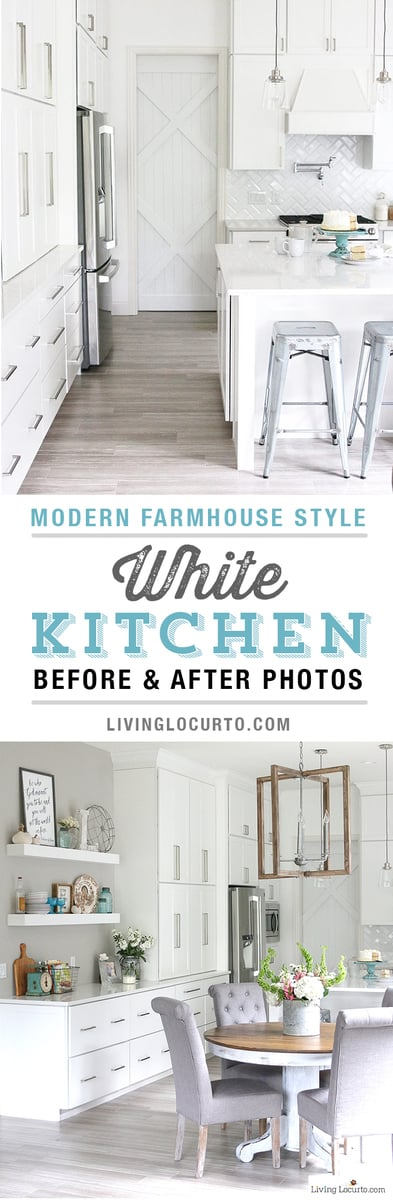 New White Kitchen Reveal! Amazing before and after photos of a modern farmhouse style kitchen home remodel. Home decorating and kitchen inspiration. #kitchen #remodel #whitekitchen #livinglocurto #home #homedecor #kitchendesigns #kitchenideas #dreamkitchen #farmhouse #homedesign