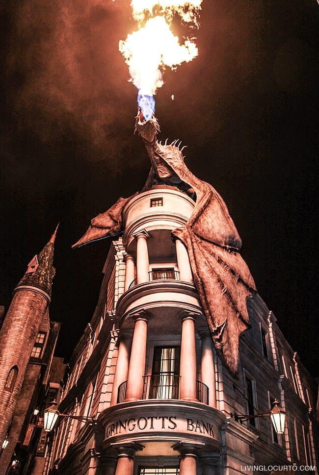 Gringotts Bank Dragon Diagon lley. 10 Things you MUST do at Universal Orlando! Learn about rides and attractions you can't miss! What's new and coming soon at the Wizarding World of Harry Potter and more with family vacation and travel tips. LivingLocurto.com