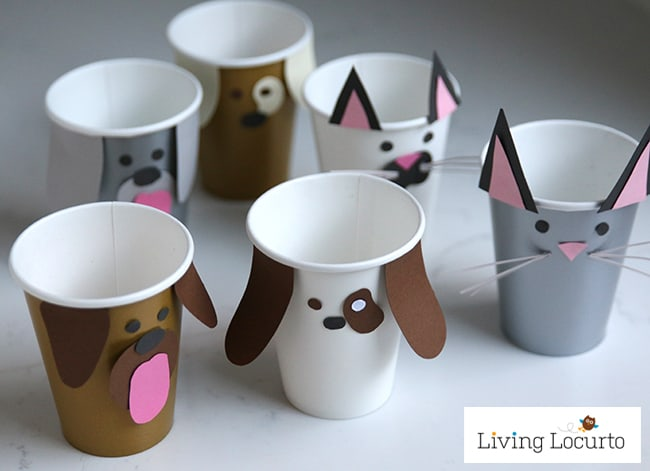 Pet Party Ideas Dog Cat Paper Cup Craft Puppy Chow Bar