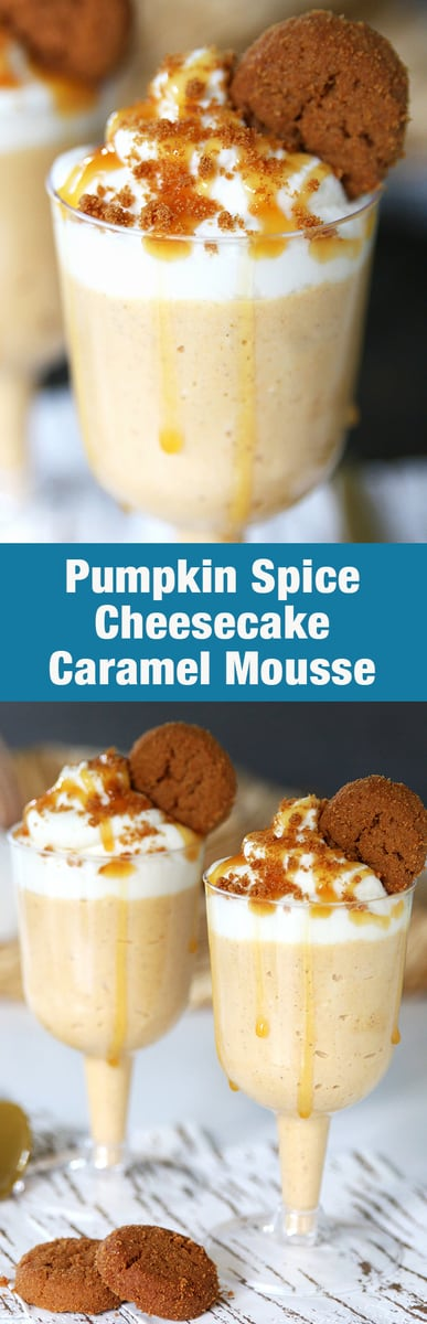 Pumpkin Spice Cheesecake Caramel Mousse! A delicious and easy no bake dessert! Perfect for a fall party or Thanksgiving.