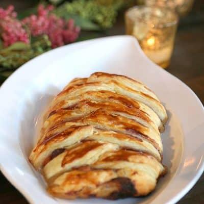 Turkey Cranberry Apple Baked Brie Braid