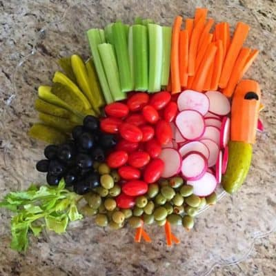 Turkey Vegetable Tray, Travel and Thankful Thoughts