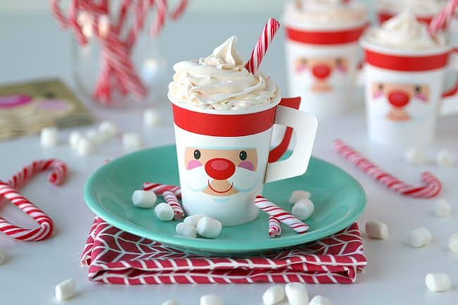 Hot Chocolate Cupcakes with Peppermint Frosting are a perfect dessert for a Christmas party! A fun food cake made to look like a cup of hot cocoa.