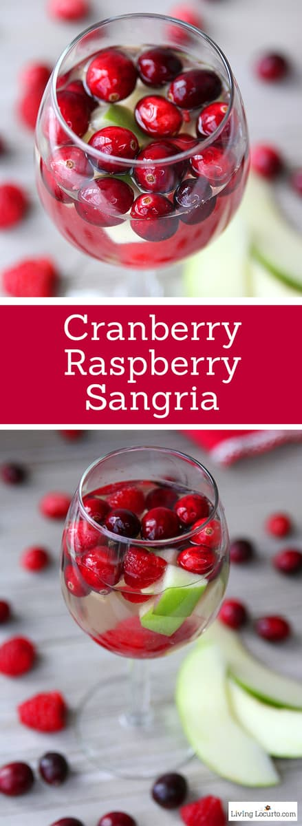 This easy Christmas Sangria recipe with cranberry, raspberry, apples and white wine is an elegant cocktail drink for a Holiday party. #christmas #sangria #holiday #drink #drinkrecipe #recipe #easyrecipe #partyfood #partyideas