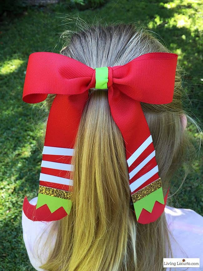How To Make An Elf Hair Bow Easy Christmas Craft