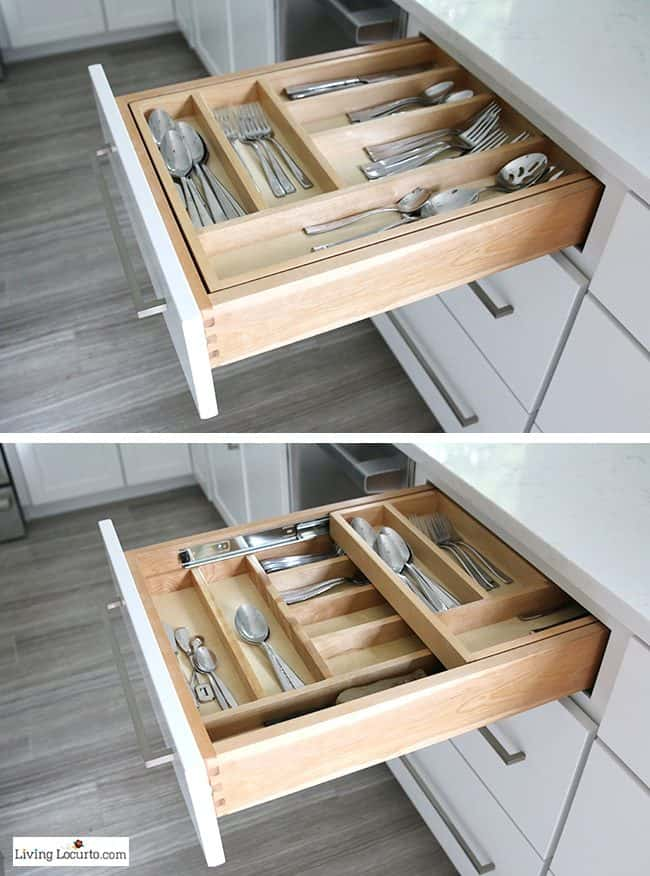 Silverware tray holder. The best Kitchen Cabinet Organization Ideas! This Modern Farmhouse White Kitchen is full of clever ways to organize cabinets. Home organizing inspiration.