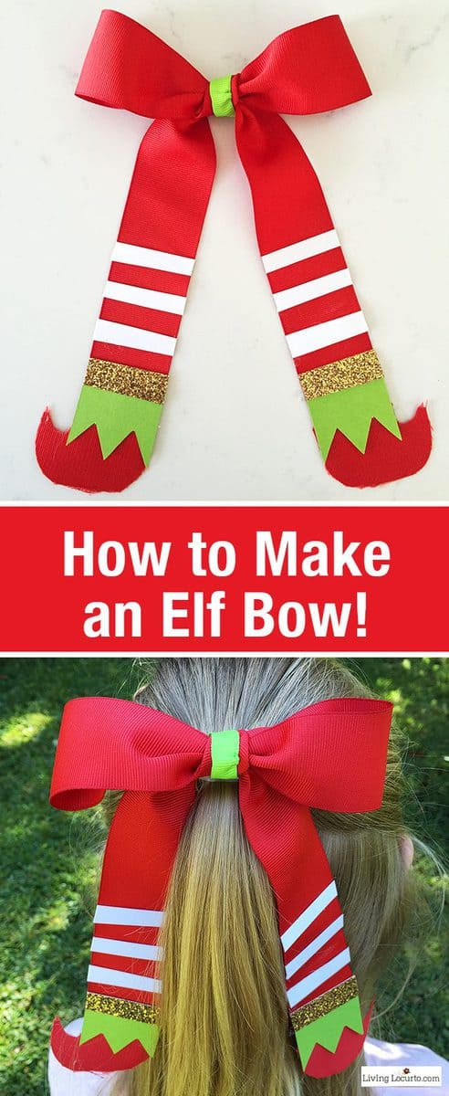 Learn How to Make an Elf Bow. This is a cute Christmas Elf Gift Idea! Easy craft for girls hair or unique holiday gift wrap. LivingLocurto.com