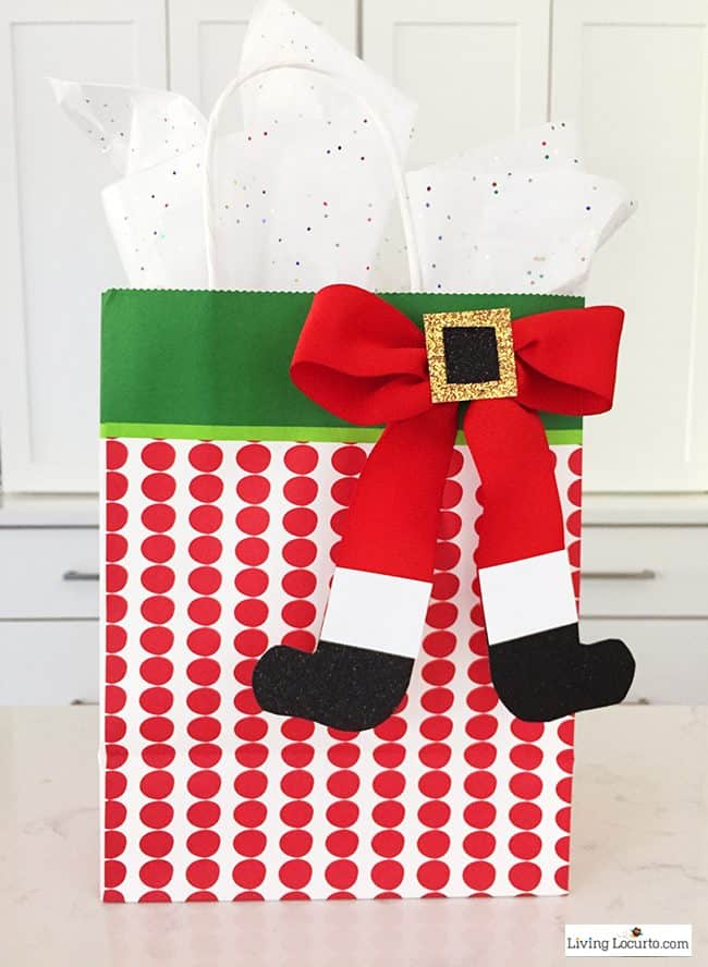 How to Make a Santa Bow! This simple craft adds a special touch to any Christmas present or little girl's hair!