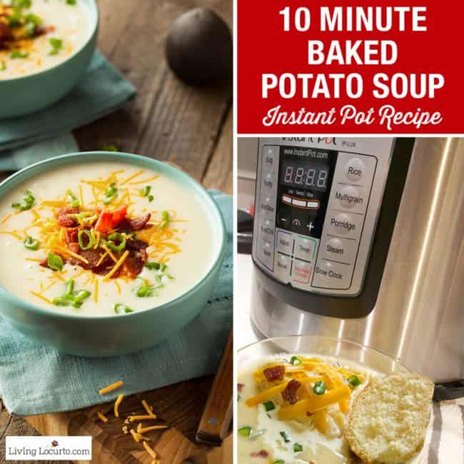 Easy 10 Minute Baked Potato Soup Instant Pot Recipe for a quick family dinner.