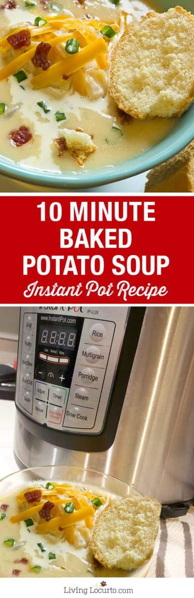 10 Minute Baked Potato Soup is the perfect quick and easy hearty meal! With a pressure cooker like the Instant Pot, you'll have dinner in minutes. Gluten free recipe.