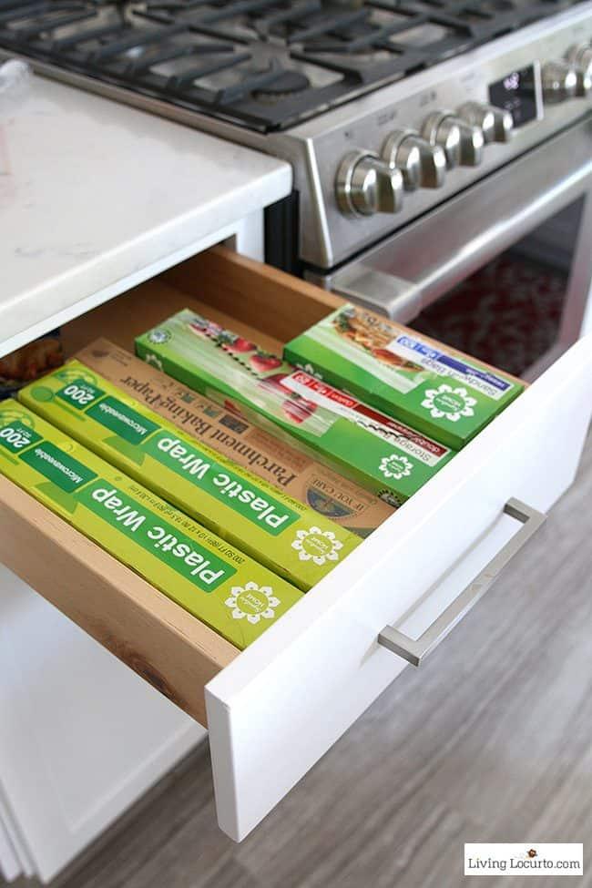 10 Clever Organization Ideas for Your Kitchen - drawer cabinet storage ideas.