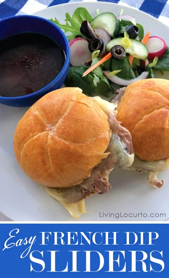 These are the best French Dip Sliders! Easy Baked Roast Beef Sandwiches with only ten minutes of prep time that are perfect for a quick and easy family meal or a party appetizer.
